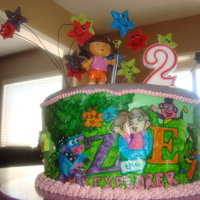 Dora Stars!  A little Dora cake for my little Dora freak! Changed the Dora the Explorer logo to read Zoe and drew in all her friends. MMF stars with RI...