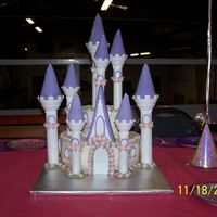 "Monica's Birthday  Wilton Romantic Castle Kit. 10"" & 6"" chocolate cakes iced with vanilla buttercream. All flowers made with fondant and royal..."