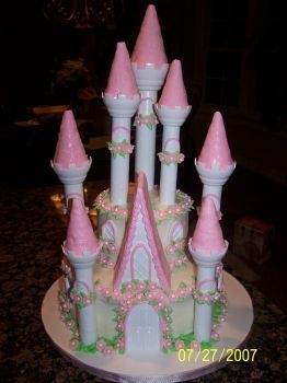 Castle Cake  Wilton Castle Kit...... accents in MMF. Chocolate cake with buttercream icing. This cake was a lot of fun to make and a nightmare to...