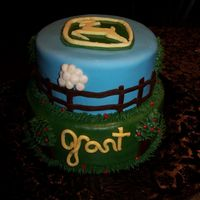 "John Deere Birthday Cake  8"" & 10"" chocolate cakes.... covered in MMF....... fondant and buttercream accents. Name is supposed to say ""Grant&quot..."
