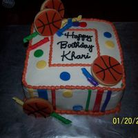 "Khari's Birthday 8"" strawberry cake..... buttercream with fondant accents and NFSC/RI basketballs."