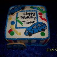 "Terry's Birthday  8"" strawberry cake..... buttercream with fondant accents and NFSC/RI Cars (or whatever you call them - obviously I need more practice..."