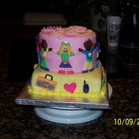 "Khandis' Birthday  8"" square and 6"" round strawberry cakes with buttercream covered with marshmallow fondant. Fondant cut out people and fondant..."