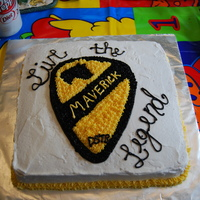 Practice Homecoming Cake I made this as a practice cake for my husband's return from Iraq. This is his unit patch and their 'catch phrase'.