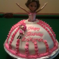 "Za'kyrah Moxie Doll Cake MOXIE DOLL CAKE.. WASC, USED A 12"" ROUND AND A METAL BOWL. MY FIRST DOLL CAKE FOR MY 8 YEAR OLD NIECE ZA'KYRAH. SHE LOVED IT."