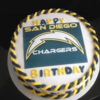 San Diego Chargers Covered in Fondant with ediable image,buttercream rope trim..