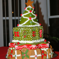Christmas Tree Cake I made this cake for my friend's Christmas party. The presents are peanut butter cookies.
