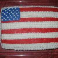 Flag  I made this cake for the 4th, the inside was layered red, white and blue. The red layer was red velvet, then white cake mix, the blue layer...