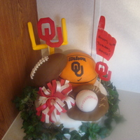 Sports Fan I made this for my husbands birthday. He is a Sooner Freak! Football,basketball,baseball & glove are all cereal treats covered in...