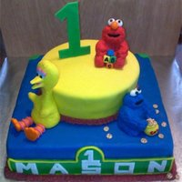 Seasame Street Birthday Cake This is a two tier yellow cake with buttercream icing, and covered in fondant. It features Big Bird, Cookie Monster, and Elmo.