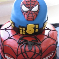 Spiderman Cake White sponge with cherry filling. Covered and decorated with MMF.