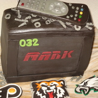 Tv & Broken Remote Sports lovers cake! Vanilla Butter pound cake with buttercream filling. MMF and gum tex. Joke among birthday boys friends was that he...