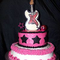 Rock Star Cake All buttercream except for star & disco ball. Guitar is made from chocolate.