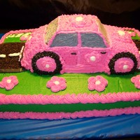 Are We There Yet? Pink car cake. All buttercream.