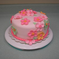 Pretty In Pink Cake made for co-workers birthday. Idea taken from cake made by Alana Hodgson. I loved the flowers and random look of it.