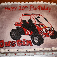 Dune Buggy Birthday White cake with buttercream icing using a piping gel transfer