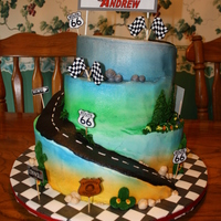 Cars Birthday 3 tier spiral carved cake. Customer wanted all buttercream icing because the little one is allergic to corn syrup. All the signs were...