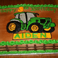 John Deere Birthday Cake Chocolate/Vanilla Cake with all buttercream icing, design done doing a piping gel transfer.