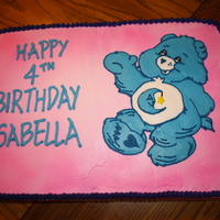 Bedtime Bear Birthday Chocolate cake with buttercream icing doing a piping gel transfer