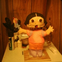 Bobble-Head Dora I saw the bobble-head cake posted by fromscratch and thought that it would be awesome as a Dora. Thanks for the inspiration. I had help...