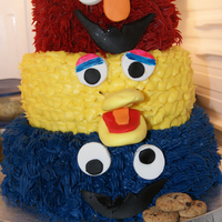 Elmo Big Bird And Cookie Monster Cake