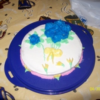 Final Cake On Wilton Course #1 I was so proud of this... completion of the Wilton roses! Woo hoo!!