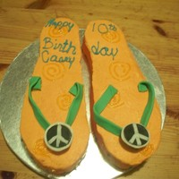 Peace Flip Flops My daughter and her friend designed these flip flops for her birthday.
