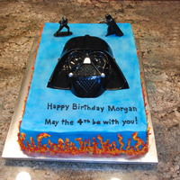 Star Wars Theme 1/2 sheet cake with bc icing and chocolate hot fudge bc filling, airbrushed blue. Inspired by cccyzu and several others.