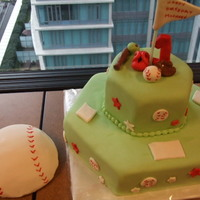 Baseball Cake With Smash Cake Hexagon pans - french vanilla cakes with nutella filling. All fondant decos.