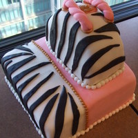 "Two Tone Zebra Cake With Purse On Top My first two tone cake - all fondant decos. 8"" square cake on the bottom - chocolate fudge/caramel and mini rolo filling. 6""..."