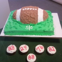 Football Dinner Total of 3 cakes, the football field is chocolate, the football is red velevt, the cupcakes are chocolate. This was for my nephews Sr Night...