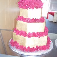 Red And Gold Anniversary Cake