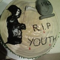 Rip Youth This cake was chocolate and mint flavour (sounds to rich, but it was delicate). It was for my father, hence the mickey taking about his age...