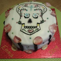 Sugar Skull A chocolate fudge cake decorated with a very thin layer of royal icing in order to draw the skull on