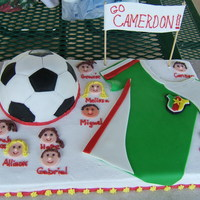 End Of Season Soccer Inspired by several fantastic cakes in the gallery. Fondant/ RKT soccer ball, fondant game shirt, gumpaste sign (ack, the writing on it is...