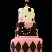 Pink And Brown Baby Shower Here is a cake I did for a baby shower. The colour were pink and brown, I tried to get all of the themes that the Mum to be wanted. Pink,...