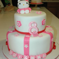 "Hello Kitty Cake Hello Kitty, flowers and hearts made of fondant12' and 8"" cakes covered in fondant"