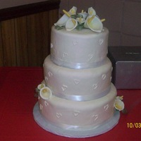 Calla Lily Wedding Cake 3 tier MMF cake with gumpaste calla lilies.