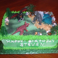 Godzilla Monster Cake I made this for my Grandson. Everyone loved it. It's my personal favorite with Godzilla coming out of the water to fight the monsters...