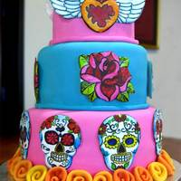 "Dia De Los Muertos This cake was made for a Dia de los Muertos (day of the dead) celebration. The cake with strawberry cloud filling. The ""applique&quot..."