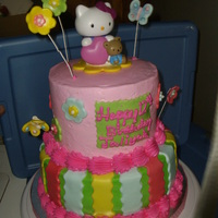 "Hello Kitty iced in bc with fondant accents, using a 6"" and 8"" rounds"