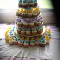 Bassinet Cake bassinet shower cake with colored white chocolate bassinet cupcake toppers. I also made the stand. It has cotton candy between the tiers!