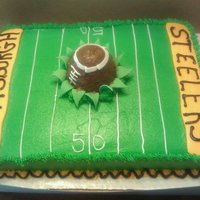 Superbowl Cake 1/2 sheet cake, WASC covered in vanilla buttercream