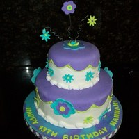 "Happy 13Th Birthday 2 tier - 10"", 6"" - Vanilla Cake with Chocolate Mousse Filling - Decorations all Fondant."