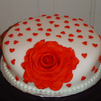 Valentine Rose Chocolate cherry cake with cherry marshmallow icing with gumpaste rose inspired by Ron Ben-Israel, my cake crush.