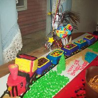 Choo Choo Train For my sons 3rd birthday, he really loved it, smoke stack was filled with Redi whip just before he blew out the candles, made of five...