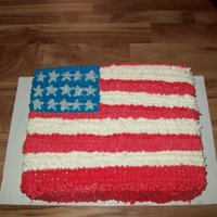 American Flag This was a sheet cake I did for a client, it was white cake with raspberry cream cheese filling.