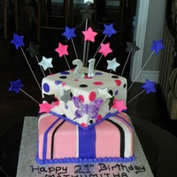21St Birthday Cake   21st fondant birthday cake toped with stars