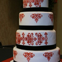 Red And White Stencil Cake