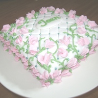 Sweet Pea Quilted Fondant Cake with Buttercream Sweet peas